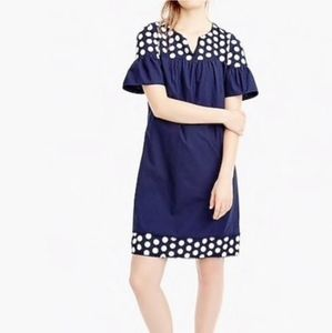 J. Crew Embroidered Dot Midi Ruffle Sleeves Dress